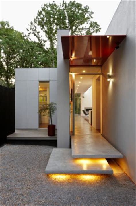 Outdoor Entry Lighting Spine Structure House Skillion Roofs Modern Design Archinspire Id Entrance Foyer