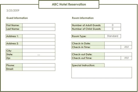 Hotel Reservation Card Template by Spreadsheetzone Free Excel Spread Sheets