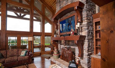 rustic great room mullet cabinet rustic fireplace