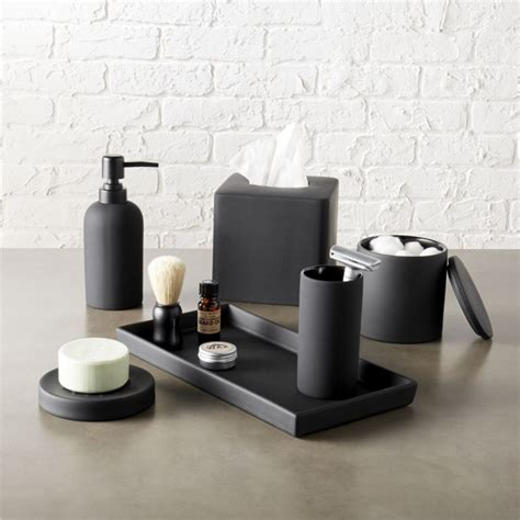 Black Bathroom Set by Rubber Coated Black Bath Accessories Cb2