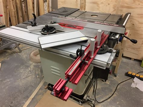 table saw sliding table attachment fixing cross cut fence install and alignment for sliding