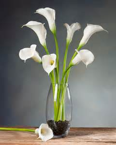 Floor Vase Arrangements Large Calla Lily Silk Flower Stems For Casual Decorating