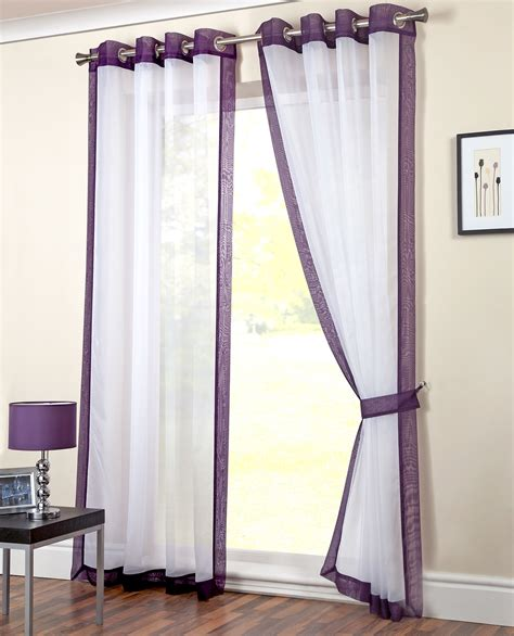 ready made net curtains modern eyelet voile panel plain ring top ready made