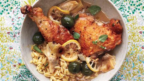 braised chicken  artichokes olives  lemon recipe