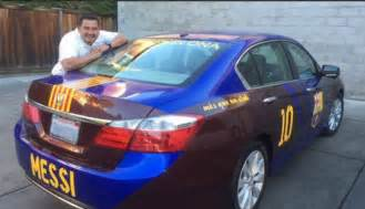 messi new car lionel messi fanatic has barcelona themed car
