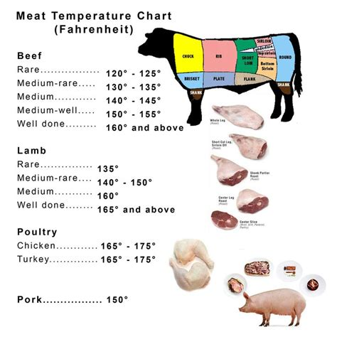 printable pork recipes meat and poultry temperature chart lamb left over