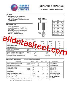 transistor mpsa06 datasheet mpsa06 datasheet pdf transys electronics