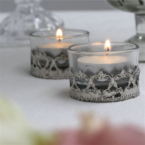 mini elegant glass and silver tea light holder by the