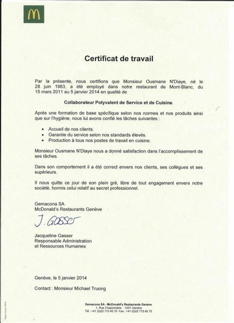 Certificat De Travail Gemacona