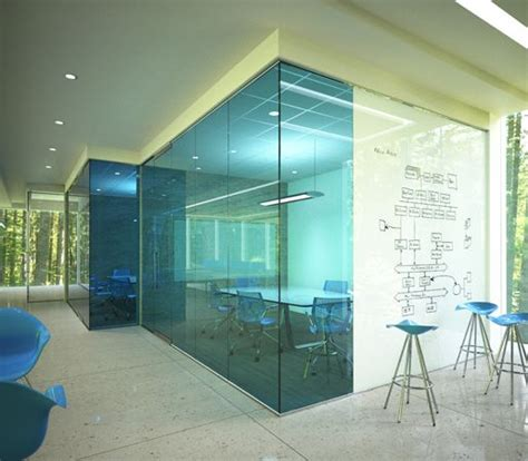 glass wall design blue glass different but looks feels like a fish tank