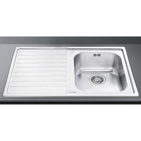 smeg ll861s 2 kitchen sink 1 bowl brushed stainless steel
