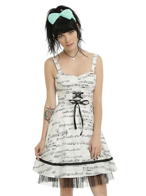 clothes clothes clothes music 0571328288 ivory black music note dress hot topic