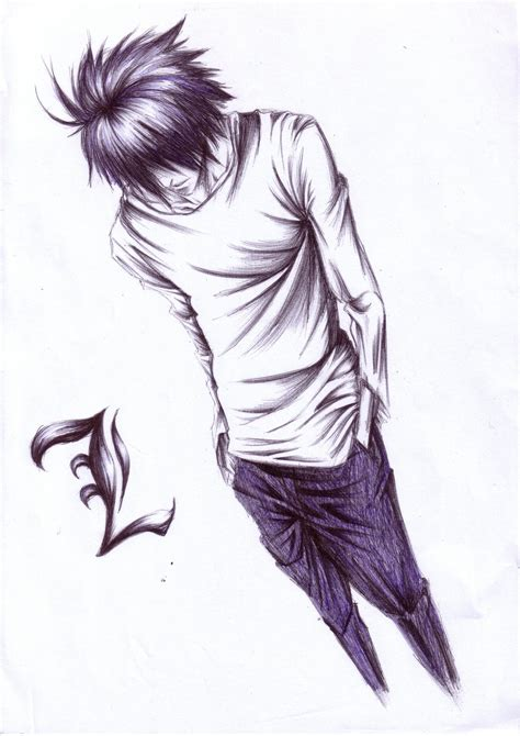 L Drawing Note by Tags Note L Lawliet Sketch Artist Request