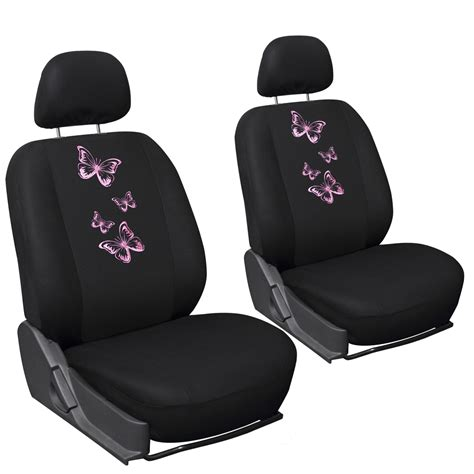 girly car seats covers 6pc set butterfly pink girly black car seat cover front