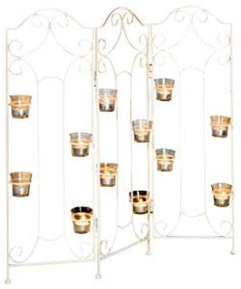Decorative Home Accessories 73cm Cream Metal Fire Screen With Tealight Holders
