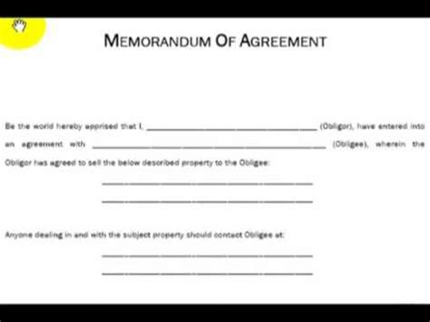 memorandum of agreement sle template memorandum of agreement explained real estate investing