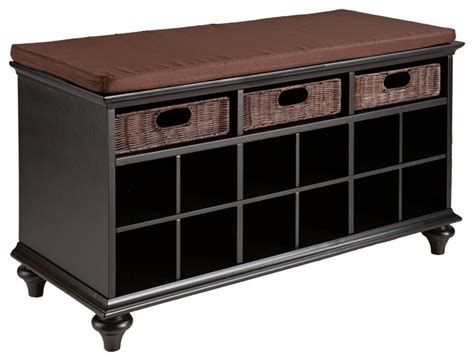 accent storage bench mackenzie entryway bench black transitional accent