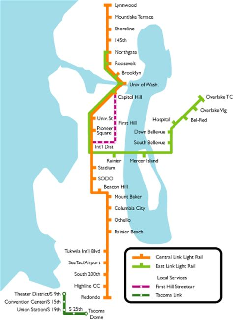 seattle link light rail map seattle metro map