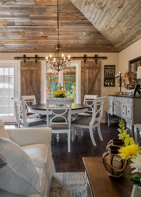 rustic dining room whitewashed brick reclaimed barn wood shiplap interiors