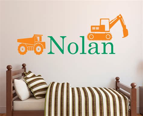 personalized name wall decal truck wall decal boys room