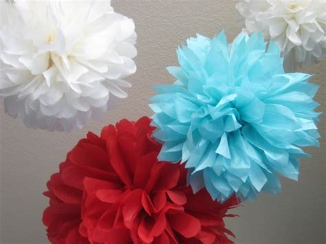 Handmade Pom Pom Decorations - 10 tissue paper pom poms decoration diy kit