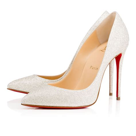pigalle follies 100 ivory glitter shoes christian louboutin