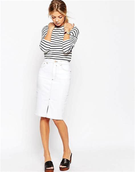 asos asos denim split front midi pencil skirt in white