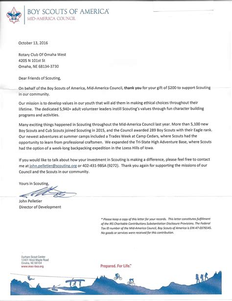 Fundraising Letter For Boy Scouts West Omaha Rotary Foundation Supports Boy Scouts Rotary Club Of Omaha West