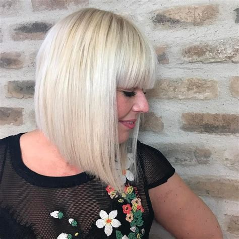 precision wedge with bangs platinum precision bob hairstyle 15 best short blonde
