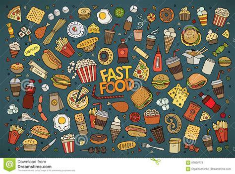 fast food doodle vector fast food doodles vector symbols stock vector