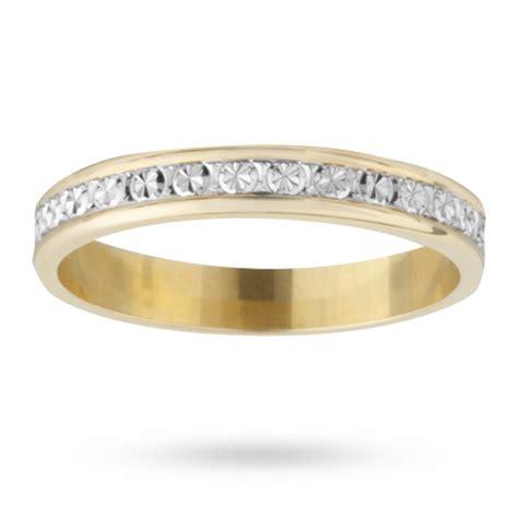 3mm cut wedding band in 18 carat yellow