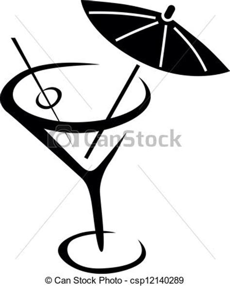 drink vector vector of drink glass of cocktail with umbrella