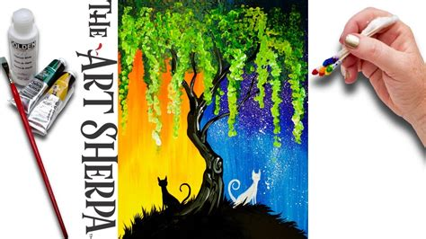 day acrylic painting ideas day and cats willow tree q tip acrylic painting for