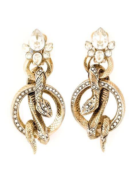 roberto cavalli rolled snakes hoops earrings in metallic