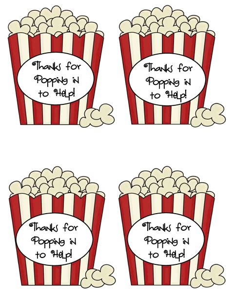 printable popcorn labels quick and easy thank you gifts for classroom volunteers