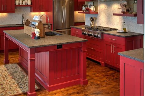 modern shaker cabinetry  red paint  glaze finish