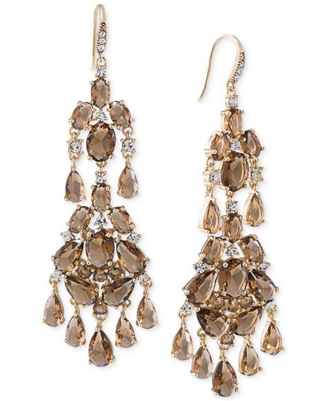 Brown Chandelier Carolee Gold Tone Brown Chandelier Earrings In Brown Lyst