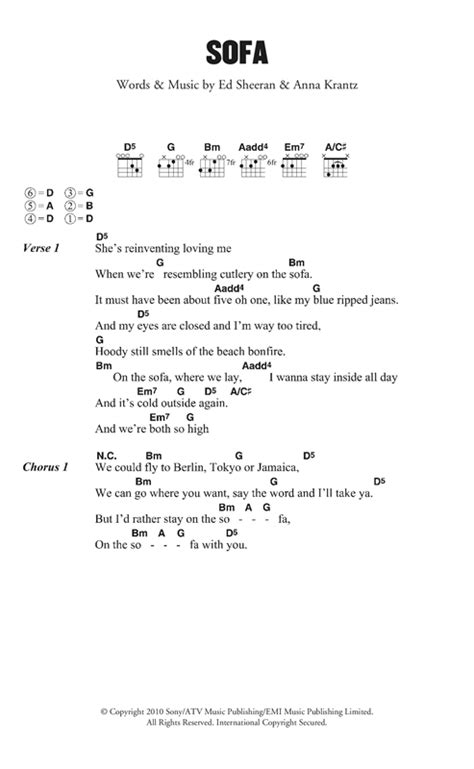 ed sheeran sofa lyrics ed sheeran sofa sheet music