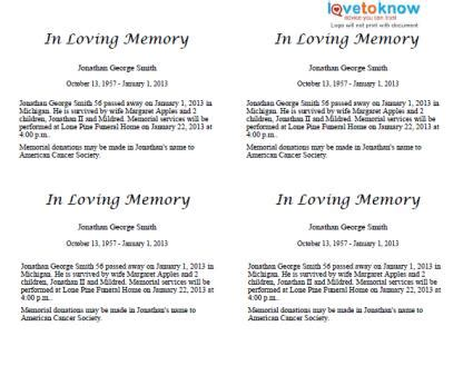 Where To Get An Obituary Template For Free Free Downloadable Obituary Program Templates