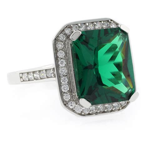 emerald cut emerald micropave silver ring gemross
