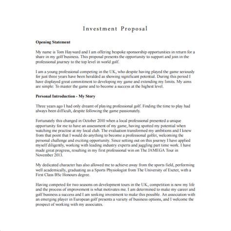 18 Investment Proposal Sles Sle Templates Investor Business Template