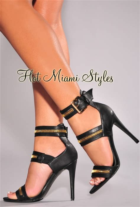 Faux Leather High Heel Sandals black faux leather zipper accent high heel sandals