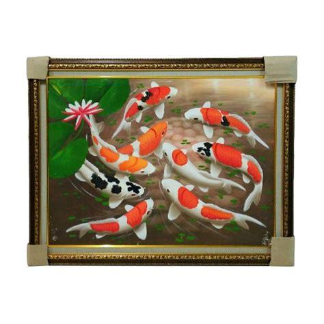 Lukisan Ikan Koi Bingkai jual toko bingkai hias rumah 251217 ikan koi plus bingkai lukisan tangan 90 x 70 cm