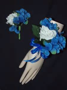 royal blue corsage and boutonniere corsage boutonniere white royal blue hydrangea set wrist or pin style