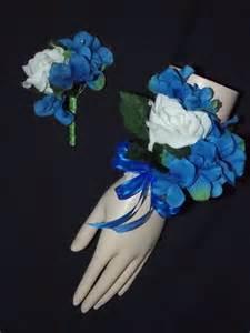 royal blue boutonniere corsage boutonniere white royal blue hydrangea set wrist or pin style