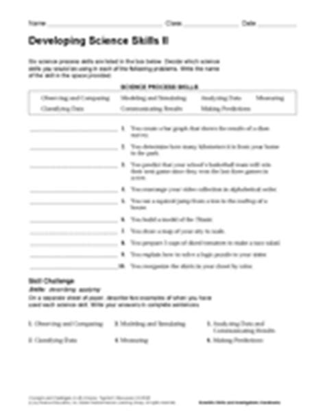 Science Process Skills Worksheets Printable by Science Skills Worksheet Lesupercoin Printables Worksheets
