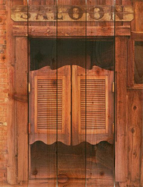 swinging bar door 28x36 saloon door on cedar inside outside wall hanging