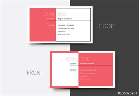Business Card Template Adobe Stock by Business Card Layout With Pink Background 1 Buy This