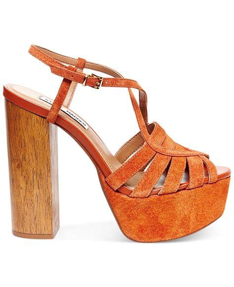 steve madden platform sandals steve madden gingur platform sandals in brown lyst