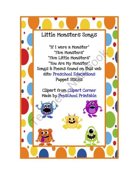 printable children s poems 5 little monsters poem free download education kids